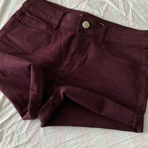 American Eagle Outfitters Shorts - AEO  Hi-Rise Shortie Maroon Shorts | 10
